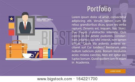 Portfolio Conceptual Banner | Great flat illustration concept icon and use for Business, Creative Idea, Concept, Marketing and much more