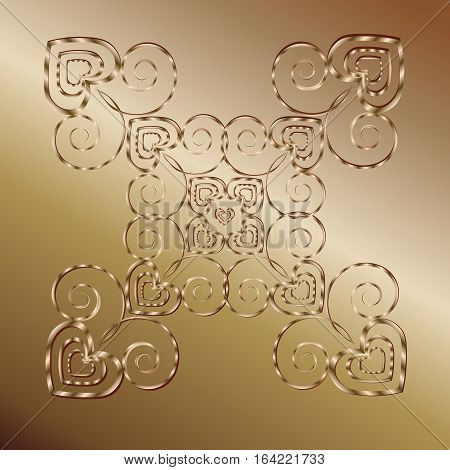 Mandala valentine card Abstract symmetric Ornamental Metal bronze background author design heart pattern style forged decoration openwork handmade logo vector illustration eps10 stock