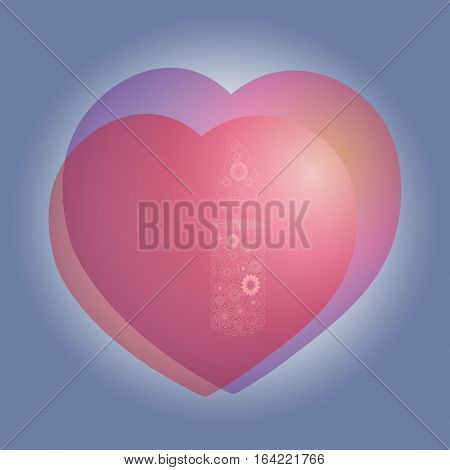 Two hearts and candle compliments Feast abstract author design romance card love air handmade object shadow vector illustration eps10 stock