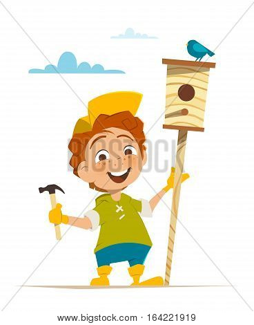 Boy and nesting box with bird Ecology environment protection illustration