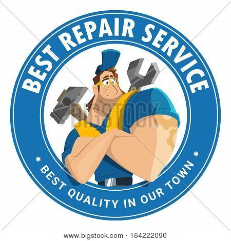 Modern professional creative 3d vector character graphic logo design for home house auto car repair service building engineering company tool equipment shop store etc