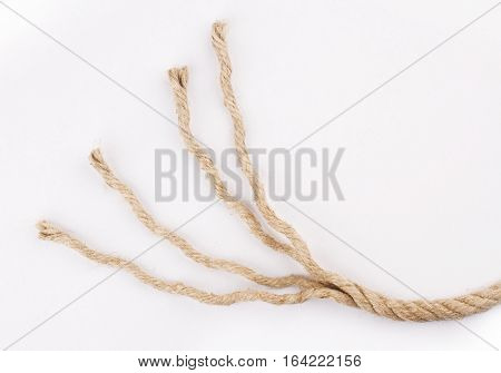 detail of unraveled rope isolated on white background