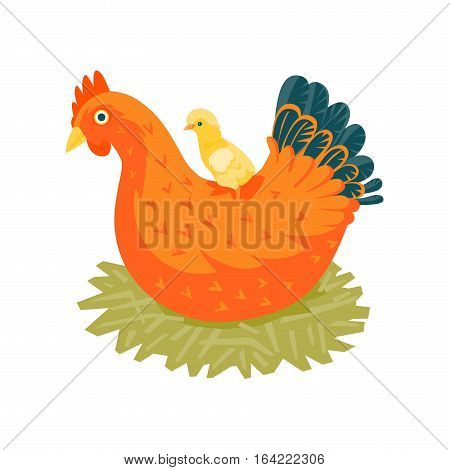 Red chicken in nest with a yellow chick vector illustration cartoon style