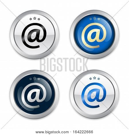 Internet seals or icons with @ symbol. Glossy silver seals or buttons