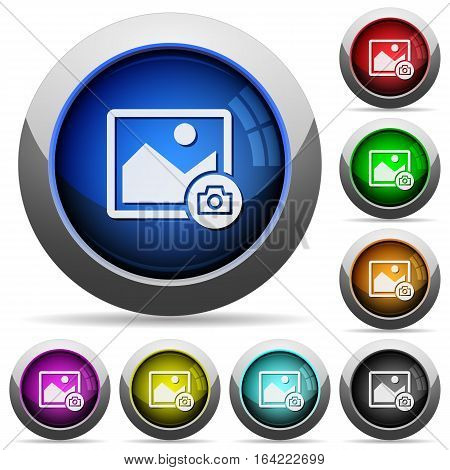 Grab image icons in round glossy buttons with steel frames