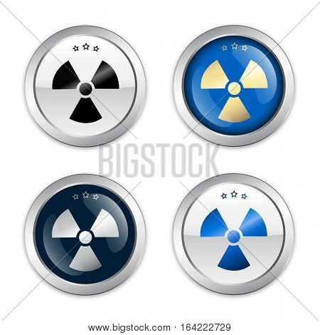Radioactive seal or icon with atomic symbol. Glossy silver seal or button