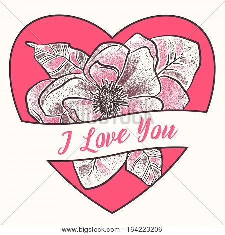 I love you. Happy valentine card. Dotted flower with heart and leaves decorative ornate. Cute floral elements in dotwork. Contour style for tattoo design.