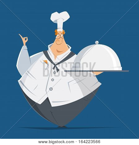 Vector character illustration of happy smile fat man cook chef holding metal cloche lid cover and tray