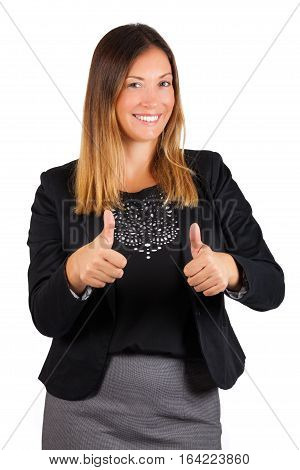 Successful woman. Female with thumbs up. Smiling. Successful woman. Female with thumbs up. A woman, on white background, gets two thumbs up smiling.