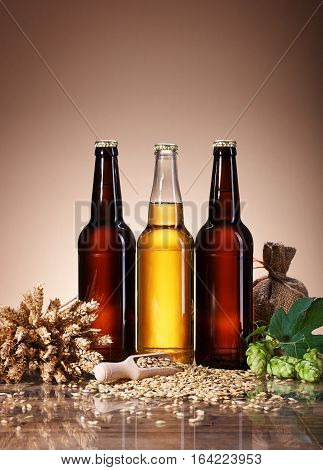 Assortment of fresh beer in bottles, ears of wheat, ripe fruit hops, wooden scoop of grain brewing ingredients, a glass bottle with a drink, a wooden table