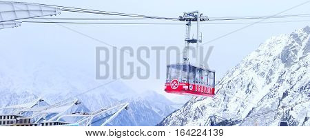 Chamonix, France - January 26, 2015: Brevent red cable car at mountain ski resort Chamonix, France