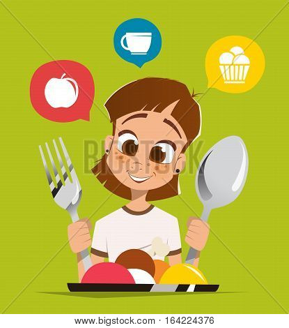 Happy smile girl kid child holding spoon and fork eating meal dish