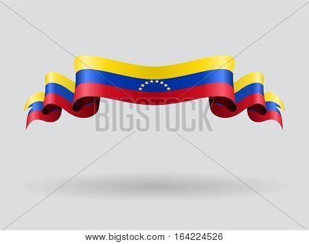 Venezuelan flag wavy abstract background. Vector illustration.