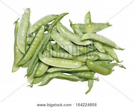 Fresh pods of peas isolated on white background