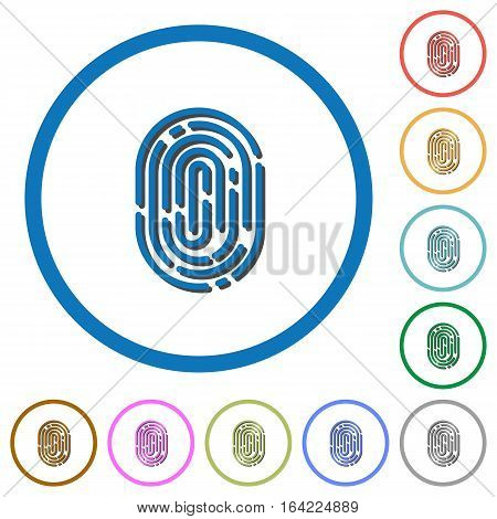 Fingerprint flat color vector icons with shadows in round outlines on white background