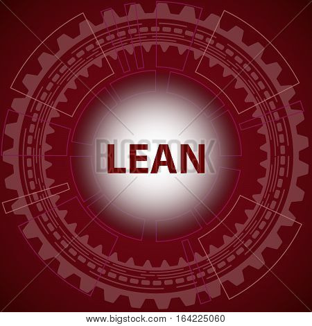 Lean strategy background. Red background with gear and title Lean in middle.