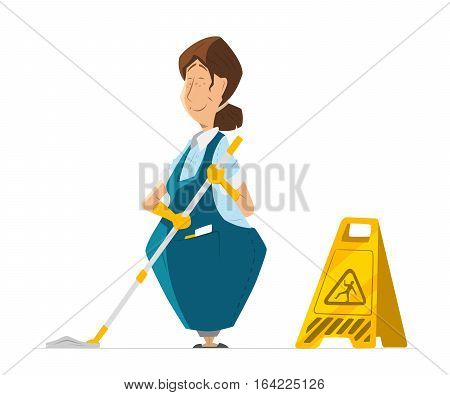 Vector character of cleaner lady or janitor woman in uniform cleaning floor holding mop