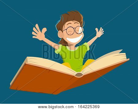 Vector character illustration of happy smile kid boy child with glasses flying on a big open book
