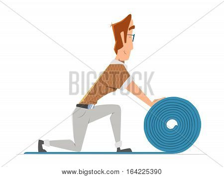 Man putting down linoleum flooring. Flooring installation illustration. Color vector illustration.