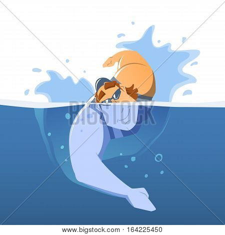 Strong muscular handsome young man professional swimmer in swimming pool. Front face view. Isolated color vector illustration.