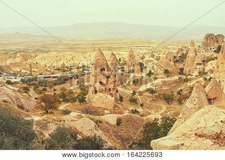 Spectacular view of Uchisar village Cappadocia Turkey