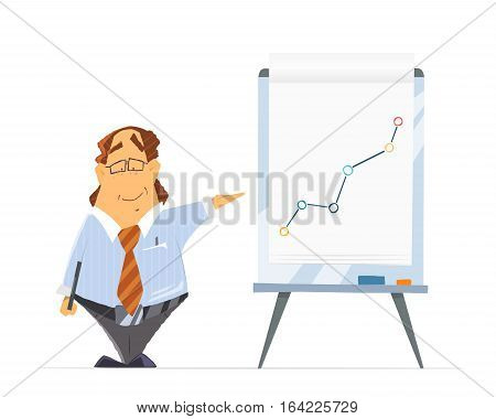 Funny fat man boss company head chief leader and office flip-chart flip chart or paper board whiteboard. Isolated on white background.
