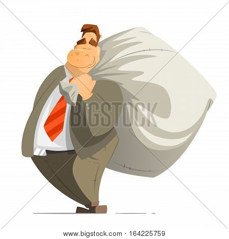 Fat rich business man businessman millionaire or billionaire holding a big money sack bag moneybag. Isolated on white background.