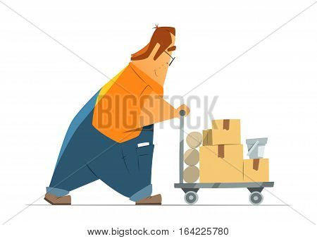 Happy smile fat man in uniform shopping in hardware store moving a cart with goods. Isolated on white background. Color vector illustration.