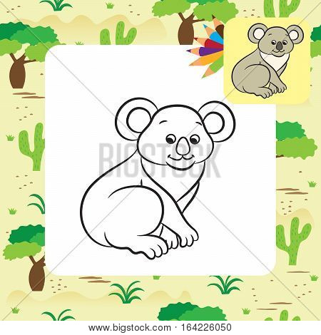 Koala bear vector illustration. Coloring book. Vector illustration