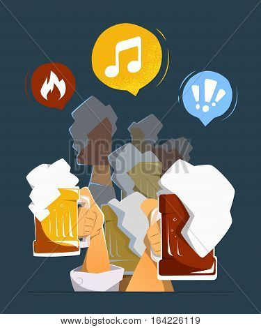 Friends people man and woman hands up with big mug glasses of light and dark beer in bar pub club. Color vector illustration. Isolated