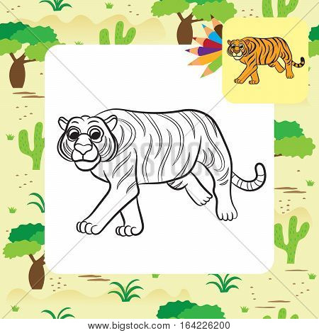 Illustration of tiger. Coloring book. Vector illustration