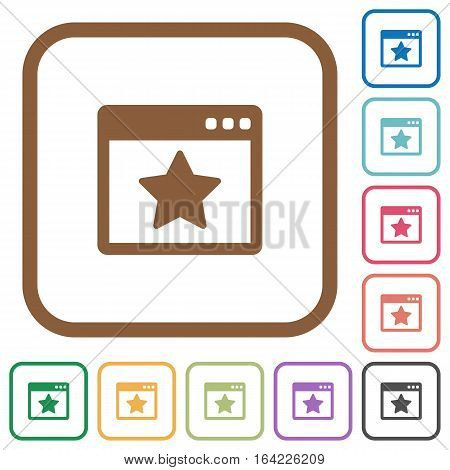 Favorite application simple icons in color rounded square frames on white background