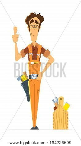 Man repairman locksmith handyman or worker serviceman. Color vector illustration.