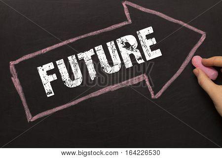 Future - Chalkboard With Arrow On Black