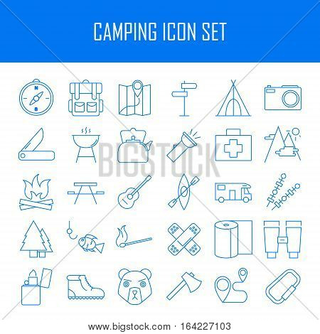 Camping icons.  Backpack, axe, hiking boots, map, compass and other things for camping. Line art vector illustration.