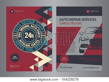 Set Automotive Service Centers business layout templates. A4 auto repair shop Brochure templates automobile magazine cover geometry pattern triangle Modern Backgrounds. Vector illustration.