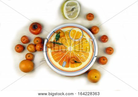 The automated robot vacuum cleaner stylized orange fruit on a background on a white