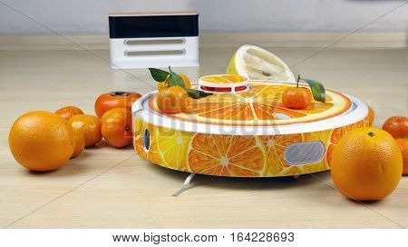 The automated robot vacuum cleaner stylized orange fruit on a white charging station background