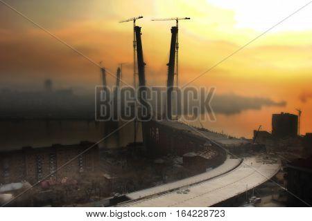 Building bridges Golden Horn Vladivostok. The bridge across the Golden Horn. Shows the time of construction - 11.12.2011