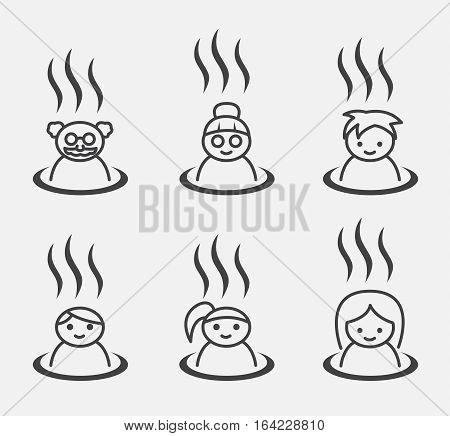 Set of Japanese hot spring marks ( onsen family set )
