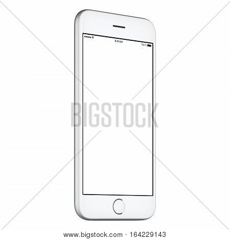 White mobile smart phone mockup slightly counterclockwise rotated with blank screen isolated on white background. You can use this smartphone mock-up for your web project or design presentation.