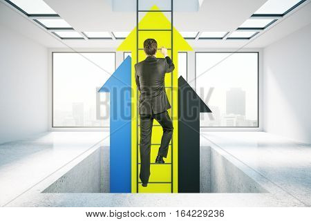Businessman in concrete room climbing abstract ladder with yellow arrows. Success concept. 3D Rendering