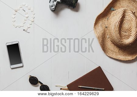 Travel summer vacation tourism and blogger concept. Set of woman journalist or blogger attributes