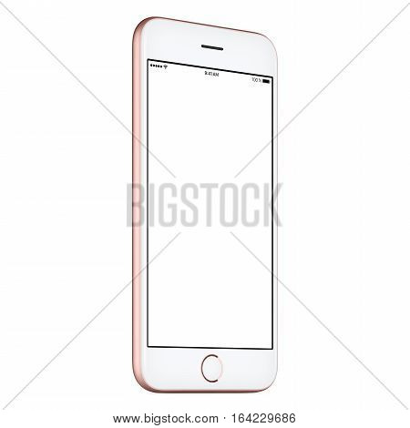 Pink mobile smart phone mock up slightly counterclockwise rotated with blank screen isolated on white background. You can use this smartphone mock-up for your web project or UI design presentation.