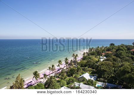 aerial view of Hua Hin beach sea sky and horizon in Thailand summer with copy space