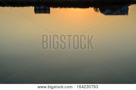 Water Lake Texture At Sunrise, Sunset Close Up Outdoor Vegetation