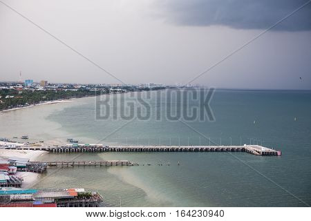 Hua Hin Thailand-October 82016:Port and old city area of Hua Hin Thailand in rainny season.Hua Hin is one of the best popular city for tourist