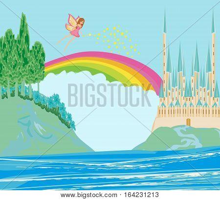 fairy flying above castle landscape , vector illustration
