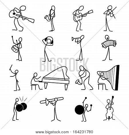 Cartoon icons set of sketch stick musician figures vector people in cute miniature scenes.