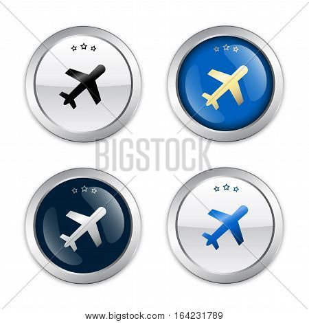 Best price seals or icons with airplane symbol. Glossy silver seals or buttons.
